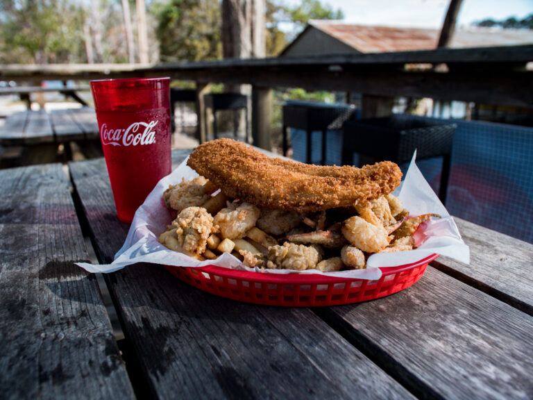 Big Daddy Basket With Fried Fish, Shrimp, Crab Claws, Oysters And Fries